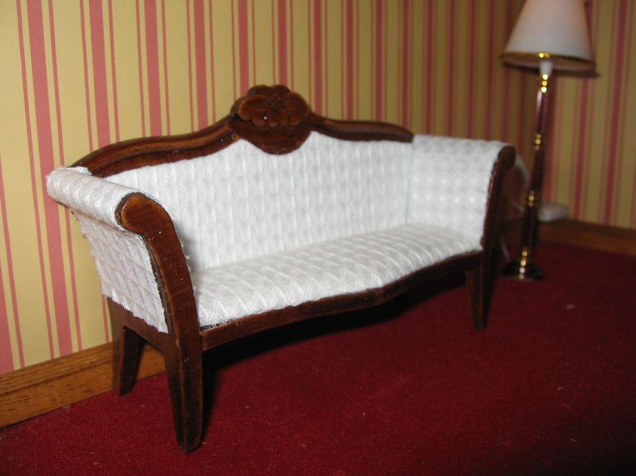 Tresillo nogal tapizadas en blanco esc 1 12 todocapricho - La casa de mi tresillo ...