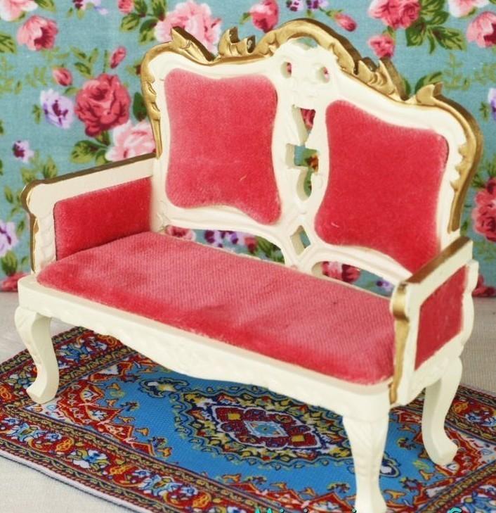 Tresillo de madera tapizado en rosa fucsia esc 1 12 para casitas de mu ecas todocapricho - La casa de mi tresillo ...