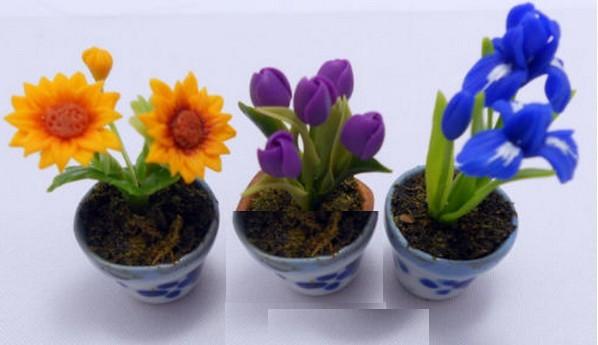 Lote de 3 macetas miniatura para casa de mu ecas esc 1 12 for Macetas miniatura
