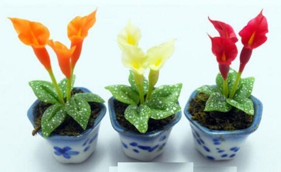 Lote de 3 macetas con flores miniatura para casita de for Macetas miniatura