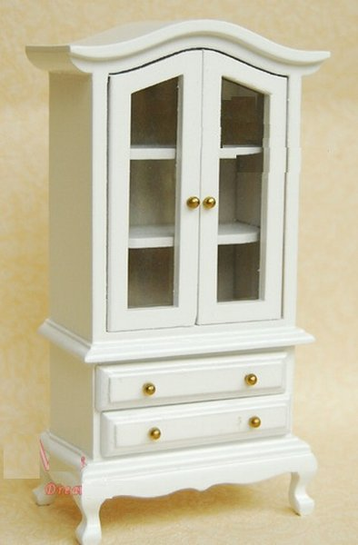 Mueble aparador vitrina de madera en blanco para casita de - Mueble aparador blanco ...