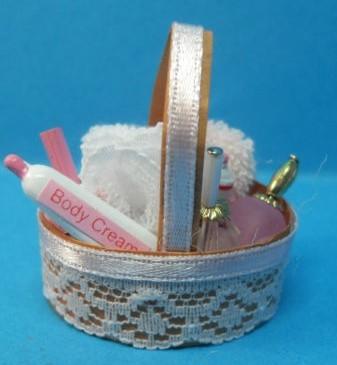 Cesto con articulos de ba o miniatura para casa de mu ecas - Articulos de bano ...