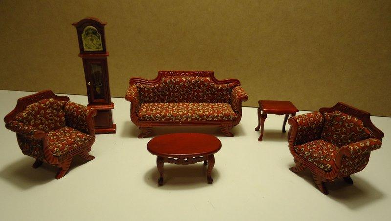 Conjunto de muebles estar o salon de madera en caoba para casita de mu ecas esc 1 12 - Como hacer muebles para casa de munecas ...
