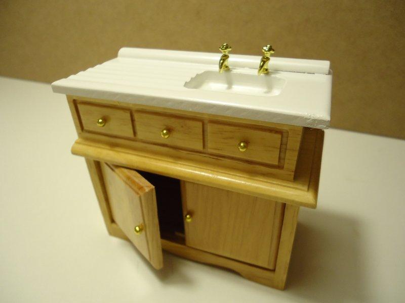 Pila fregadero madera pino para casa de mu ecas nogal for Pila fregadero
