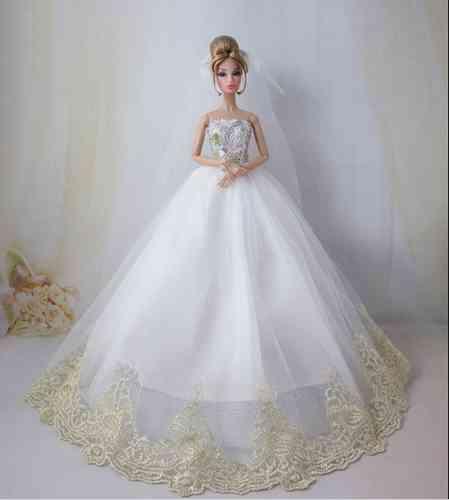 Vestido De Fiesta O Novia Incluye Velo Para Barbie O Muñeca Similar 376